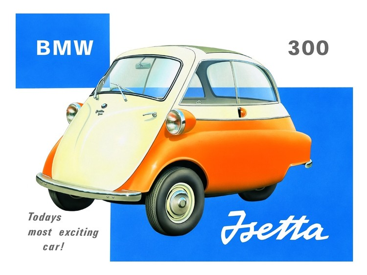 Metallschild Bubble car BMW