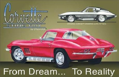 Metallschild CHEVY - corvette stingray