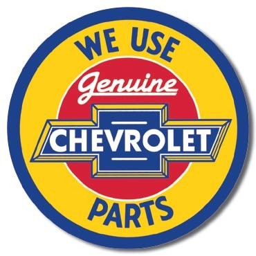 Metallschild CHEVY - round geniune parts