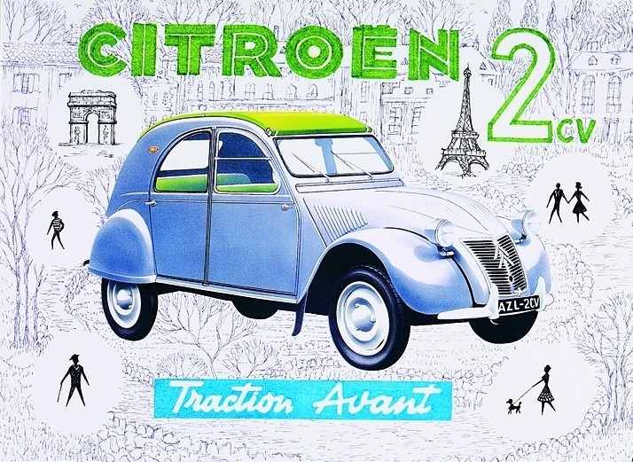 Metallschild Citroën 2CV