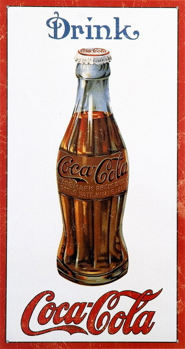 Metallschild COKE BOTTLE