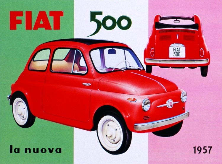 Metallschild FIAT 500