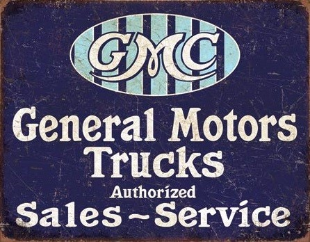 Metallschild GMC Trucks - Authorized
