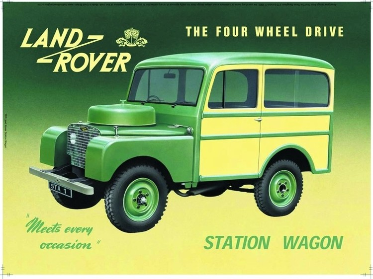 Metallschild Land Rover station wagon