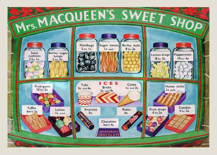 Metallschild Mrs. MACQUEEN'S SWEET SHOP