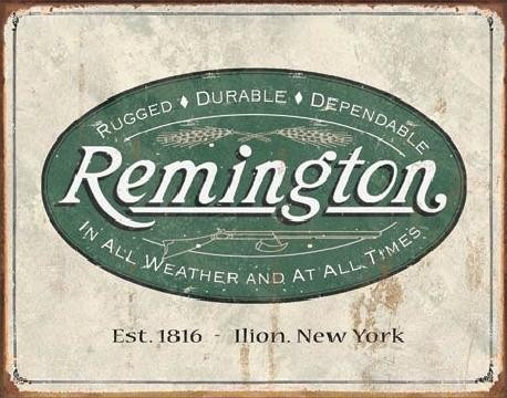Metallschild REM - weathered logo