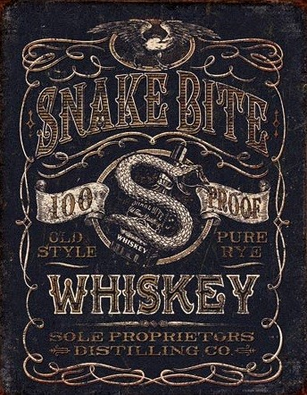 Blechschilder Snake Bite Whiskey