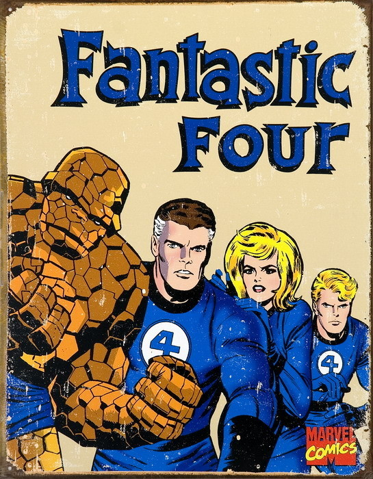 Metallschild VINTAGE FANTASTIC FOUR