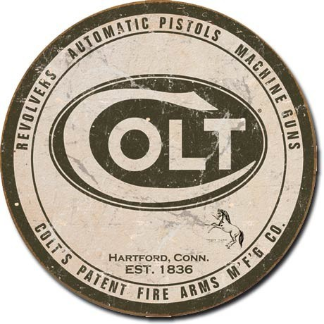 Metalni znak COLT - round logo
