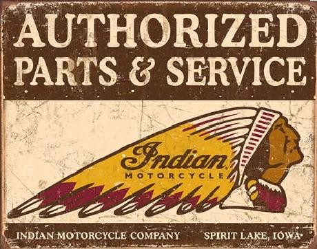 Indian motorcycles - Authorized Parts and Service Metalni znak