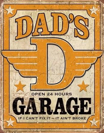 Metalowa tabliczka Dad's Garage