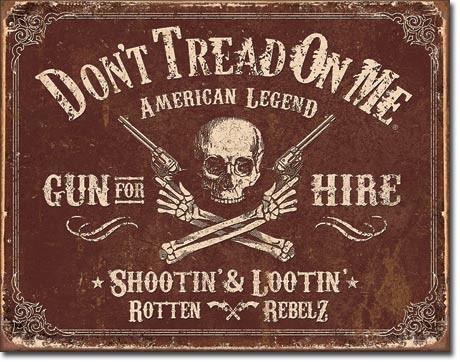 Metalowa tabliczka DTOM - Gun for Hire