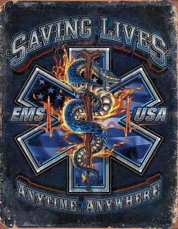 Metalowa tabliczka EMS - Saving Lives