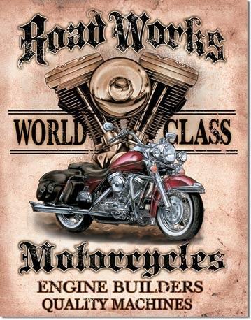Metalowa tabliczka LEGENDS - road works