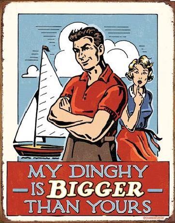 Metalowa tabliczka MY DINGHY - Bigger Than Yours