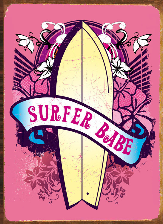 Metalowa tabliczka SURFER BABE