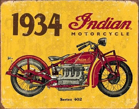 Metalskilt INDIAN MOTORCYCLES - 1934