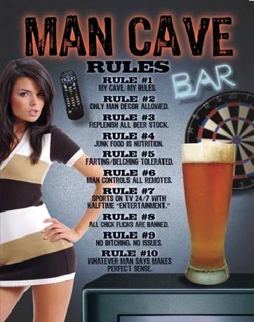 Metalskilt MAN CAVE - Rules