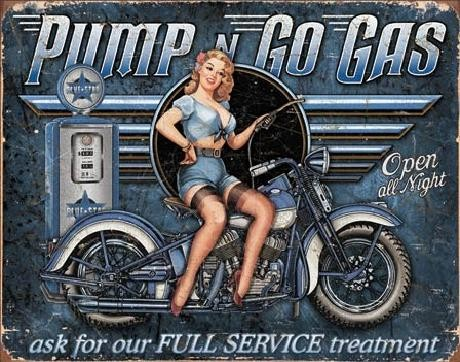 Metalskilt PUMP N GO GAS