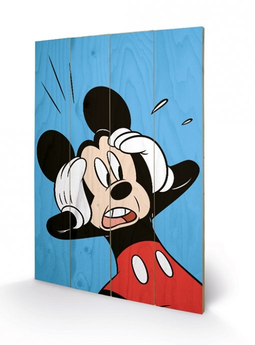 Bild auf Holz Micky Maus (Mickey Mouse) - Shocked bei EuroPosters