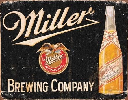 Miller Brewing Vintage Metalen Wandplaat
