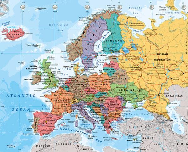 Wandkaart Europa, politiek 2014 Mini plakat