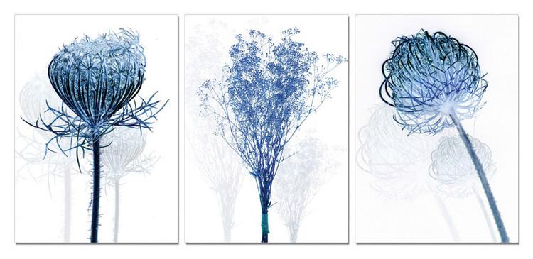 Modern Design - Blue Flowers Tableau Multi-Toiles