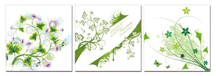 Modern Design - Green Flowers Modern tavla