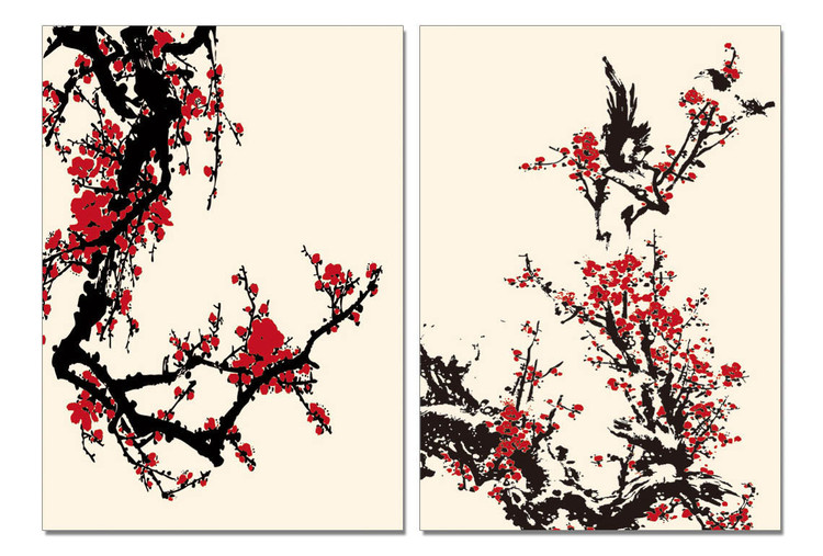 Modern Design - Red Blossoms Modern tavla