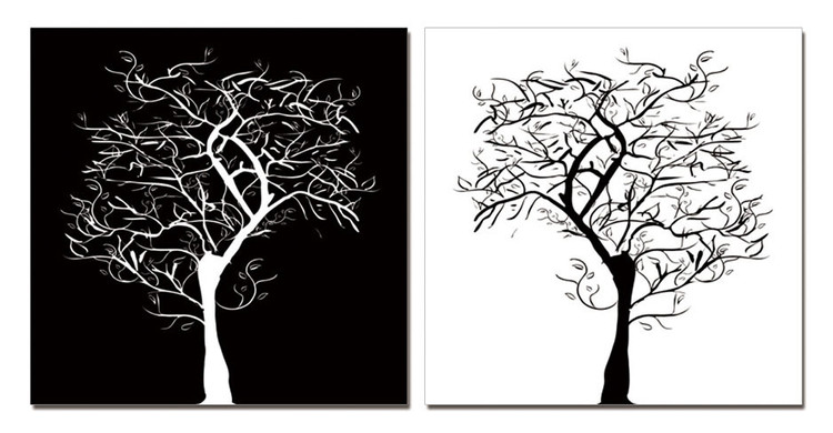 Modern Design - Tree Silhouettes Tableau Multi-Toiles