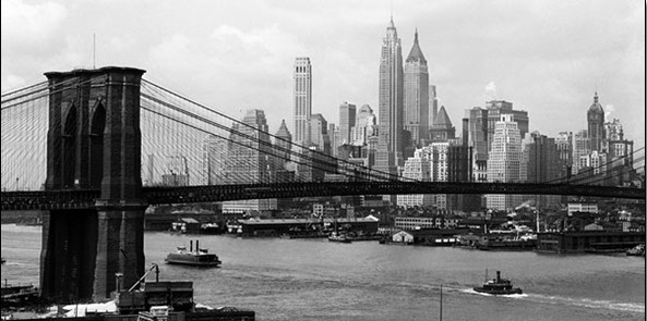 New York - Manhattan skyline and Brooklyn bridge Festmény reprodukció