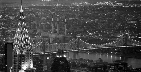 New York - The Chrysler Building and Queensboro bridge Festmény reprodukció