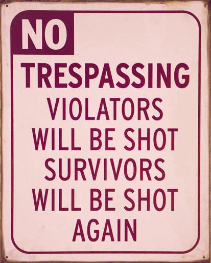 NO TRESPASSING Metalplanche