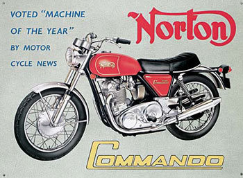 NORTON COMMANDO Metalen Wandplaat