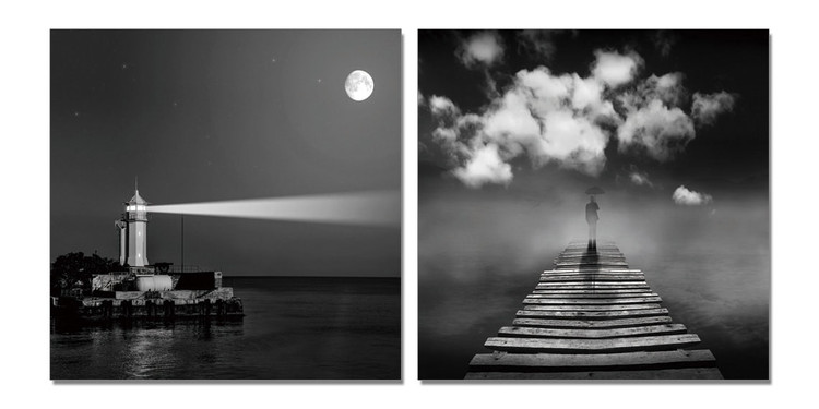 Lighthouse gray Obraz