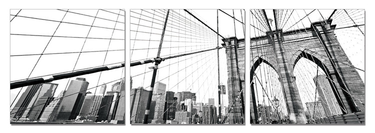 New York - Brooklyn Bridge detail (B&W) Obraz