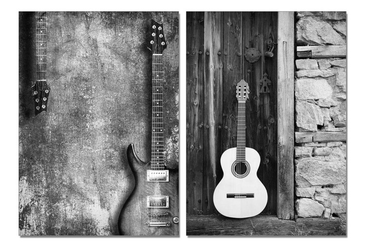 Street Art Photo Guitars (B&W) Obraz