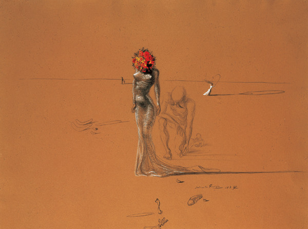 Female Figure with Head of Flowers, 1937, Obrazová reprodukcia