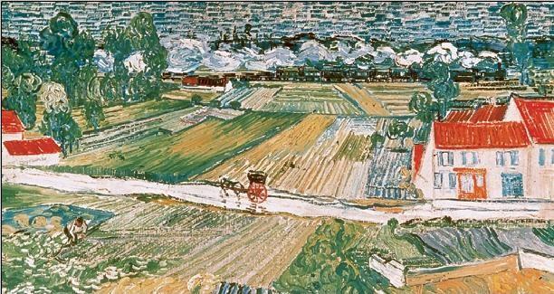 Reprodukce Krajina v Auvers po dešti, 1890 (část)