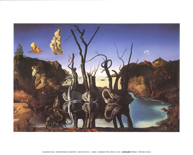 Reprodukce Labutě odrážející slony, 1937