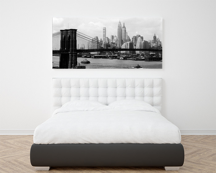 New York - Manhattan skyline and Brooklyn bridge, Obrazová reprodukcia