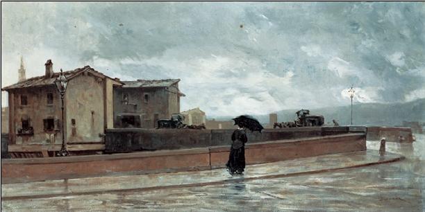 Reprodukce O. Borrani - Ponte alle Grazie - Žena přecházející most, 1881
