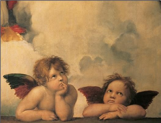 Raphael Sanzio - Sistine Madonna, detail – Cherubs, Angels 1512, Obrazová reprodukcia