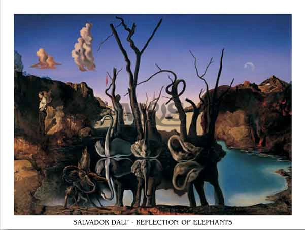 Reprodukce Reflection Of Elephants