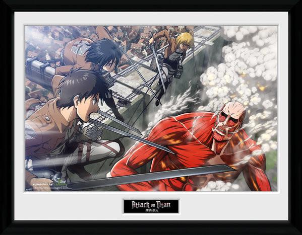 Zarámovaný plagát Attack On Titan - Fight Scene