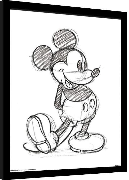 Zarámovaný plagát Myšiak Mickey (Mickey Mouse) - Sketched Single