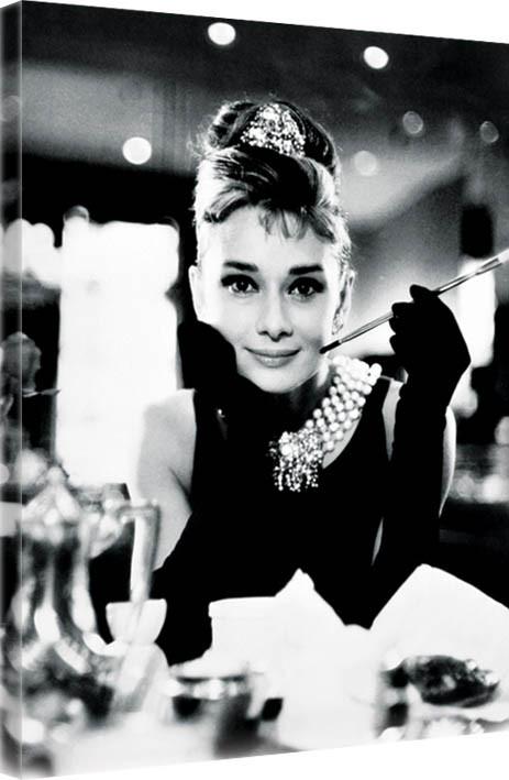 Obraz na plátně Audrey Hepburn - Breakfast at Tiffany's B&W