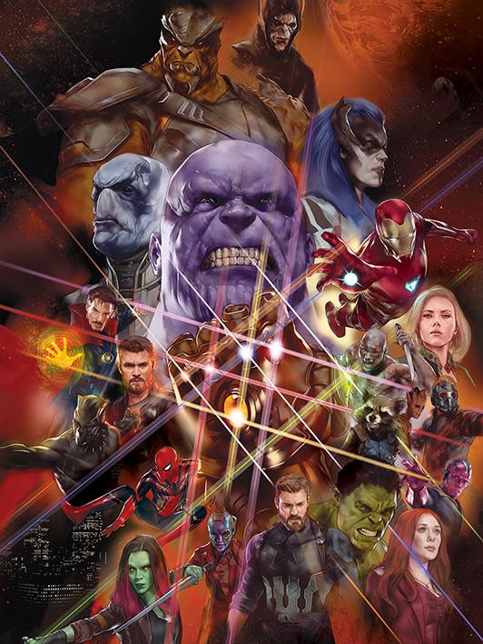Obraz na plátně Avengers Infinity War - Gauntlet Character Collage