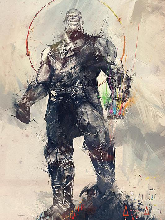 Obraz na plátně Avengers Infinity War - Thanos Sketch