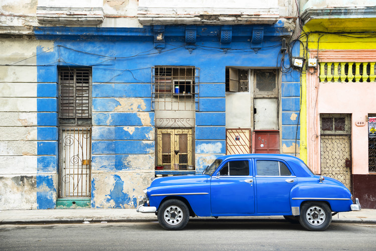 Obraz na plátně Blue Vintage American Car in Havana